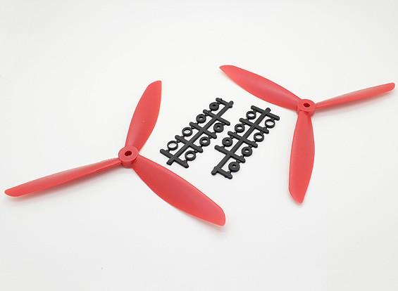 Hobbyking ™ 3-Blatt Propeller 8x4.5 Rot (CW / CCW) (2 Stück)