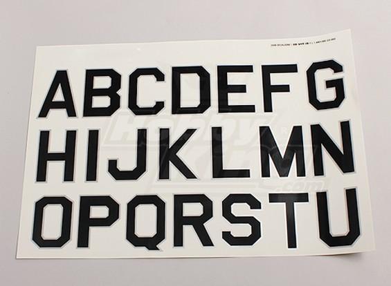 Buchstaben / Symbole Schwarz-Silber Luftwaffe Stil (groß) 2 Blätter