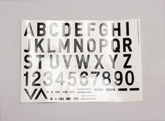 Buchstaben / Symbole Schwarz-Silber Luftwaffe Stil (Med) Style 2