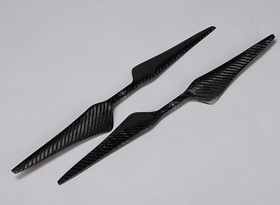 Acromodelle Carbon-Faser T-Style Propeller 17x5.5 Schwarz (CW / CCW) (2 Stück)