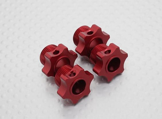 1/8 Skala Aluminium Hex Hub - Rot (4PC)
