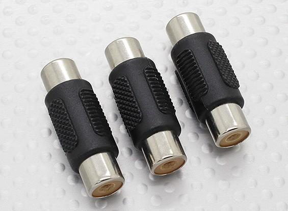 RCA-Buchse auf Cinch-Buchse A / V-Koppler-Adapter (3pc)