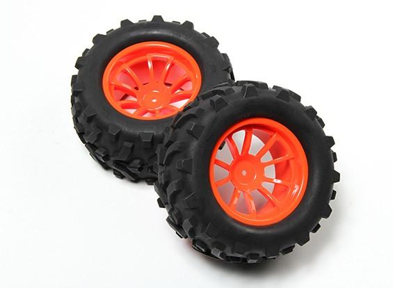 HobbyKing® 1/10 Monster Truck 10-Speichen- fluoreszierendem Orange Rad & Pfeil-Muster-Reifen (2pc)