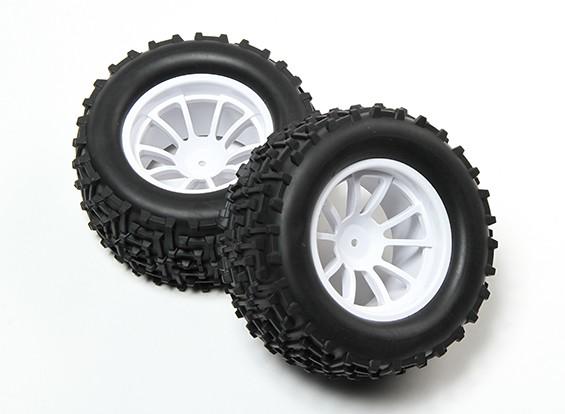 HobbyKing® 1/10 Monster Truck 10-Speichen-Weiß-Rad & I-Pattern Reifen 12mm Hex (2pc)