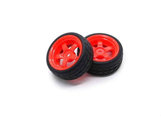 Hobbyking 1/10 Rad / Reifen-Set VTC 5 Spoke hinten (rot) RC Car 26mm (2 Stück)