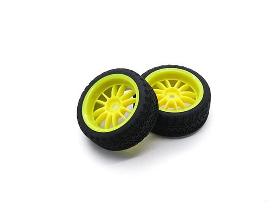 Hobbyking 1/10 Rad / Reifen-Set AF Rally Speichen Hinten (Gelb) RC Car 26mm (2 Stück)
