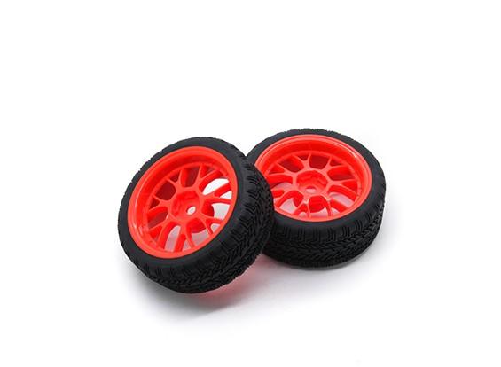 Hobbyking 1/10 Rad / Reifen-Set AF Rally Y-Speichen (rot) RC Car 26mm (2 Stück)