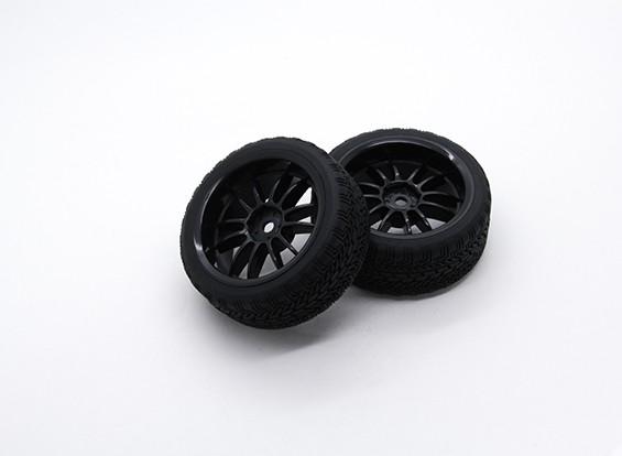 Hobbyking 1/10 Rad / Reifen-Set AF Rally Speichen (schwarz) RC Car 26mm (2 Stück)
