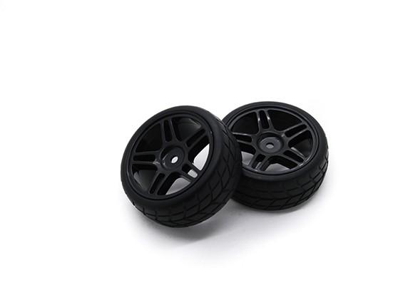 Hobbyking 1/10 Rad / Reifen-Set VTC Sternspeiche (schwarz) RC Car 26mm (2 Stück)