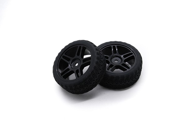 Hobbyking 1/10 Rad / Reifen-Set AF Rally Sternspeiche (schwarz) RC Car 26mm (2 Stück)