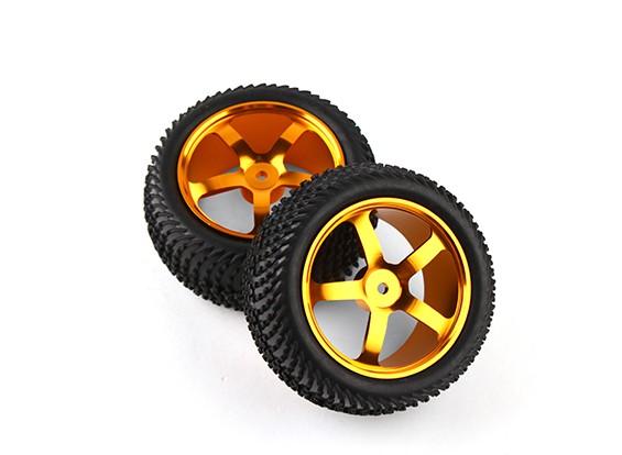 Hobbyking 1/10 Aluminium 5-Speichen Hinten (Gold) Rad / Wave Tire 12mm Hex (2pcs / bag)