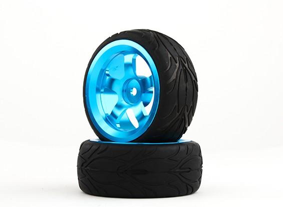 Hobbyking 1/10 Aluminium 5-Speichen 12mm Hex-Rad (blau) / Feuer Tire 26mm (2pcs / bag)
