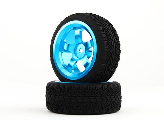 Hobbyking 1/10 Aluminium 5-Speichen 12mm Hex-Rad (blau) / W Tire 26mm (2pcs / bag)