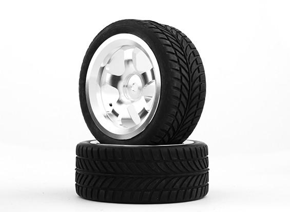 Hobbyking 1/10 Aluminium 5-Speichen 12mm Hex-Rad (Silber) / IVI Tire 26mm (2pcs / bag)
