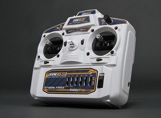 Hobbyking HK6S 2,4 GHz FHSS 6Ch Tx & Rx (weiß) (Mode 2)