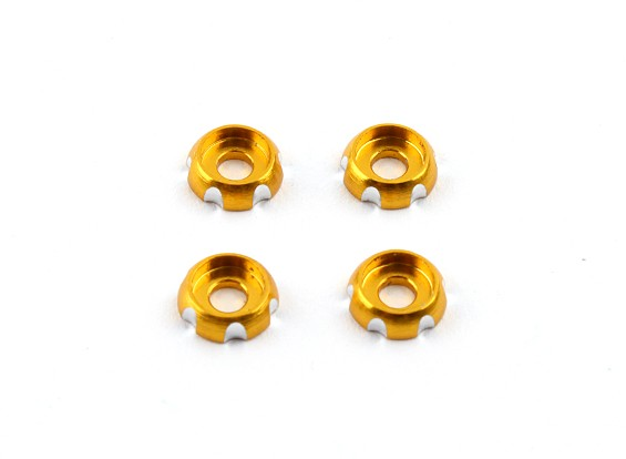 3mm Aluminium CNC-Rundkopf Waschmaschine - Gold (4 Stück)