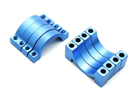 Blau eloxiert CNC Halbkreis Legierung Rohrschelle (incl.screws) 16mm