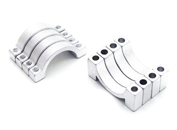Silber eloxiert CNC Halbkreis Legierung Rohrschelle (incl.screws) 16mm