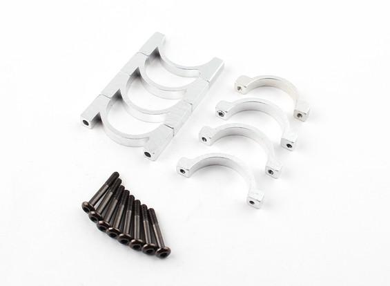 Silber eloxiert Einhäuptiges CNC-Aluminiumrohrklemme 22 mm Durchmesser