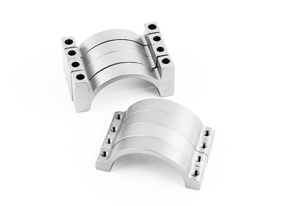 Silber eloxiert Doppelseitige CNC-Aluminiumrohrklemme 25 mm Durchmesser