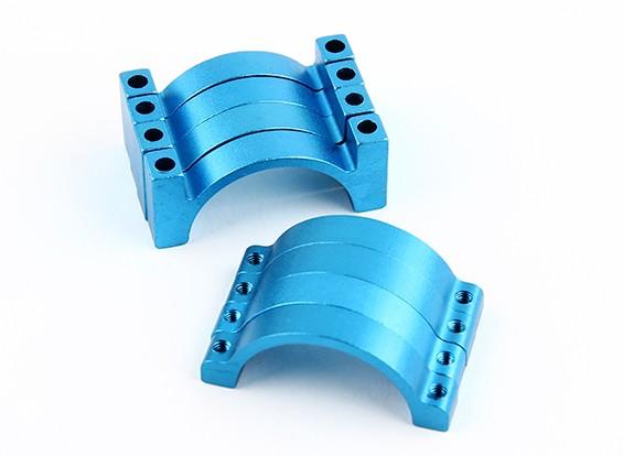 Blau eloxiert Doppelseitige CNC-Aluminiumrohrklemme 25 mm Durchmesser