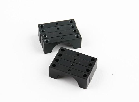Schwarz eloxiert Doppelseitige CNC-Aluminiumrohrklemme 15 mm Durchmesser