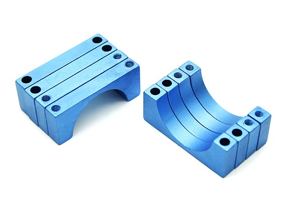 Blau eloxiert Doppelseitige CNC-Aluminiumrohrklemme 20 mm Durchmesser (Satz 4)