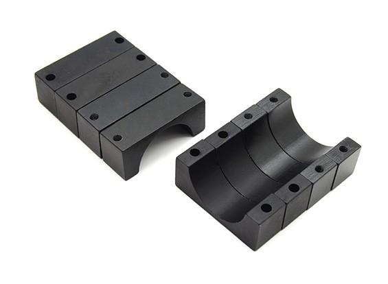 Schwarz eloxiert Doppelseitig 10mm CNC-Aluminiumrohrklemme 22 mm Durchmesser (Satz 4)