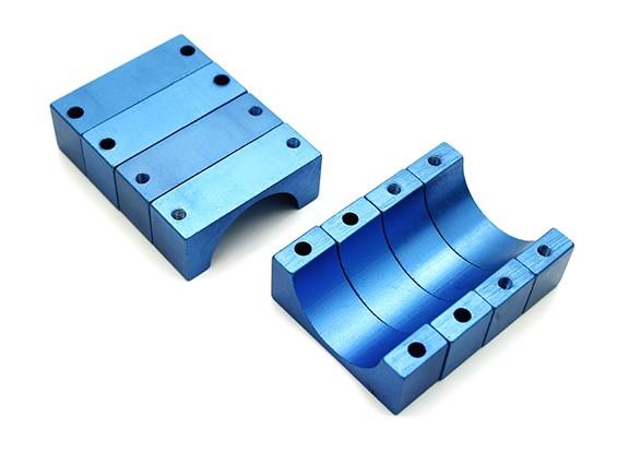 Blau eloxiert Doppelseitig 10mm CNC-Aluminiumrohrklemme 22 mm Durchmesser (Satz 4)