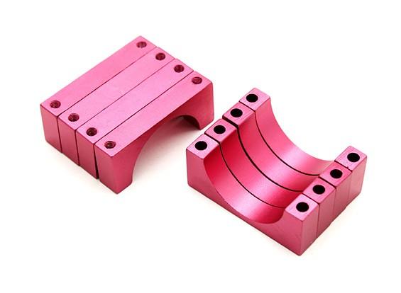 Rot eloxiert Doppelseitig 6mm CNC-Aluminiumrohrklemme 22 mm Durchmesser (Satz 4)