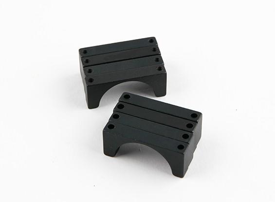 Schwarz eloxiert Doppelseitige CNC-Aluminiumrohrklemme 25 mm Durchmesser