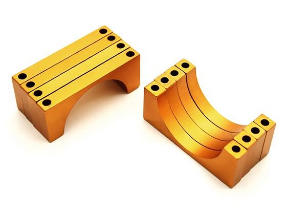 Gold eloxiert Doppelseitig 6mm CNC-Aluminiumrohrklemme 28 mm Durchmesser (Satz 4)
