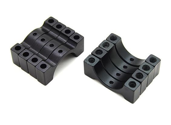 Schwarz eloxiert CNC Aluminium 5mm Rohrklemme 15 mm Durchmesser (Satz 4)