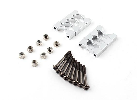 Silber Super Light eloxiert CNC-Legierung Rohrklemme 10 mm Durchmesser (4set)