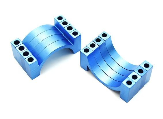 Blau eloxiert CNC-Halbrund-Legierung Rohrklemme (inkl. Muttern und Bolzen) 20mm