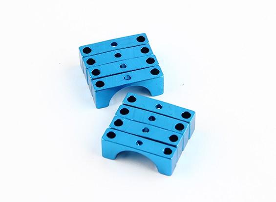 Blau eloxiert Doppelseitige CNC-Aluminiumrohrklemme 10 mm Durchmesser