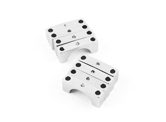 Silber eloxiert Doppelseitige CNC-Aluminiumrohrklemme 10 mm Durchmesser