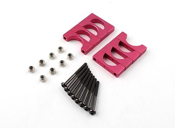 Rot eloxiert Doppelseitige CNC-Aluminiumrohrklemme 15 mm Durchmesser