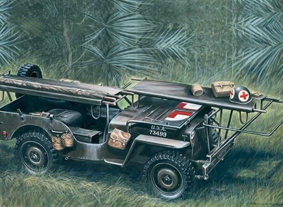 Italeri Maßstab 1:35 4 x 4 Krankenwagen Jeep Plastikmodellbausatz