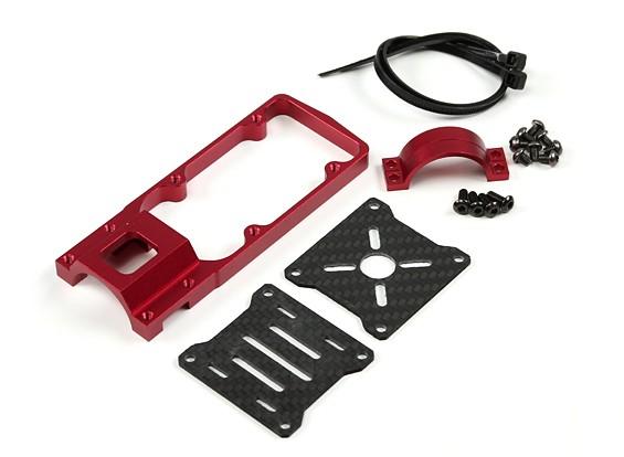 CNC-Motorhalterung für DIY Multi-Rotoren 25mm Rohr (rot)
