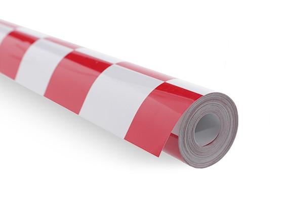 Bedecken Film Grill-Arbeit Rot / Weiß (5mtr) 401