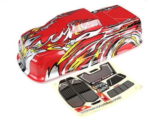 Hobbyking ™ Maßstab 1:10 Vorlackierte Monster Truck Rohkarosserie-Rot mit Flamme Graphics