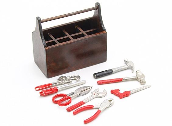 Maßstab 1:10 aus Holz-Werkzeugkasten mit Werkzeug