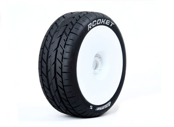 LOUISE B-ROCKET 1/8 Skala Buggy Reifen Weich Compound / White Rim / Mounted