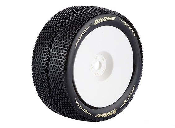 LOUISE T-TURBO 1/8 Skala Truggy Reifen Super Soft Compound / 0 Offset / White Rim / Mounted