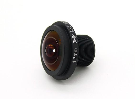 "1.7mm Weitwinkelobjektiv, F2.0, Berg 12x0.5, CCD Größe 1/3 "", Winkel 185 °"