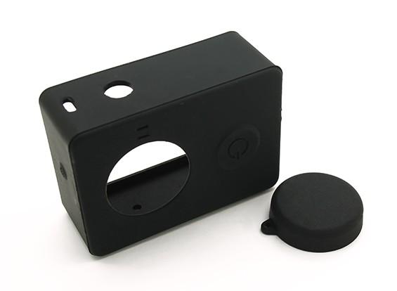Silikon-Schutzhülle und Objektivdeckel für Xiaoyi-Action-Kamera (Schwarz)