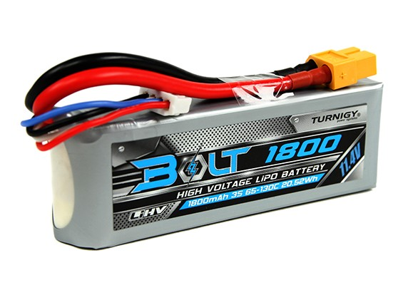 Turnigy Bolt 1800mAh 3S 11,4 V 65 ~ 130C High Voltage Lipo-Pack (LiHV)