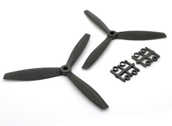 GemFan 6040 GFK-3-Blatt Propellers CW / CCW Set Schwarz (1 Paar)