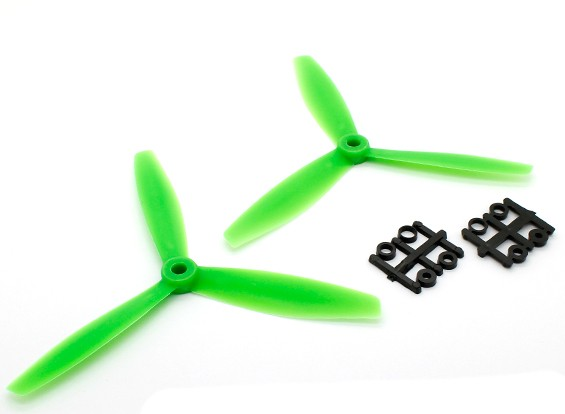 GemFan 6040 Kunststoff-3-Blatt Propellers CW / CCW Set Green (1 Paar)